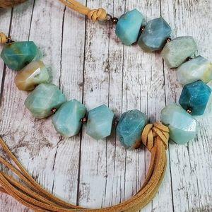 Jewelry - Chunky genuine Amazonite Boho necklace